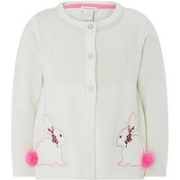 Monsoon Baby Belle Bunny Cardigan, Ivory, Size 2-3 Years