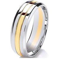 Love GOLD 9ct Gold & Palladium Two-Tone 6mm Wedding Band, Gold, Size Z, Women