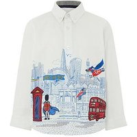 Boys, Monsoon Leon City Scene Printed Ls Shirt, Ivory, Size 6-12 Months