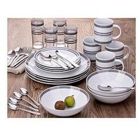 Waterside Bistro Grey Stripe 36-Piece Combination Dinner Set