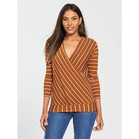 V by Very Wrap Over Stripe Top - Rust , Rust, Size 16, Women