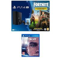 Playstation 4 Pro Ps4 Pro Black Console With Fortnite Royal Bomber Skin And 500 V Bucks With Detroit Become Human Plus Optional