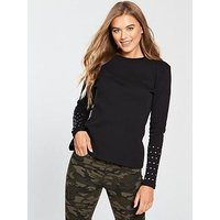 V by Very Embellished Sleeve Rib Top - Black, Black, Size 14, Women
