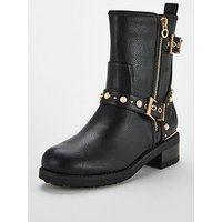 Head Over Heels Pearl Trim Biker Boot - Black , Black, Size 7, Women