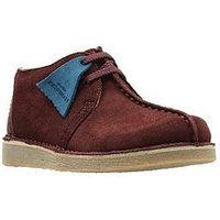 CLARKS ORIGINALS Infant Desert Trek, Burgundy Suede, Size 12 Younger