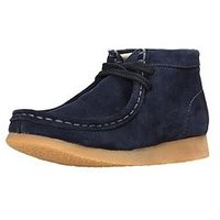 CLARKS ORIGINALS Infant Wallabee Boot, Navy Suede, Size 12.5 Younger