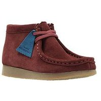 CLARKS ORIGINALS Infant Wallabee Boot, Burgundy Suede, Size 11 Younger