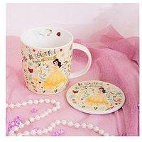 Disney Mug & Coaster Gift Set, Ariel, Belle, Cinderella, Aurora or Snow White, Belle, Women
