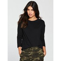 V by Very Dip Back T-Shirt - Black , Black, Size 10, Women