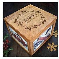 Personalised Chrismas Photo Memory Box Mistletoe Design