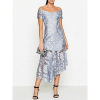 Alice Mccall Fleur De Lys DevorÉ Off Shoulder Dress - Blue