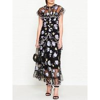 Alice Mccall Floating Delicately Embroidered Lace Dress - Black