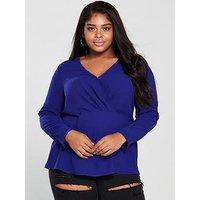V by Very Curve Wrap Front Detail Blouse - Blue , Blue, Size 24, Women