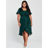 V By Very Curve Burn Out Spot Wrap Dress - Emerald Green