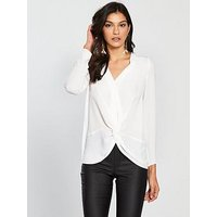 V by Very Knot Front Blouse - Ivory, Ivory, Size 12, Women
