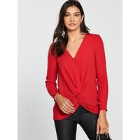 V by Very Knot Front Blouse - Red, Red, Size 16, Women