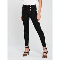 V by Very Gold Button Skinny Jean - Black, Black, Size 18, Women