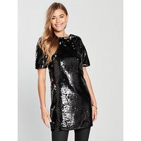 V by Very Sequin Longline Top, Black, Size 24, Women