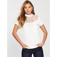 V by Very Bib Lace T-Shirt - Ivory, Ivory, Size 12, Women