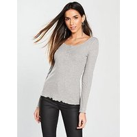 V by Very Placket Front Henley Top - Grey , Grey Marl, Size 18, Women