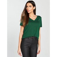 V by Very V Neck Cupro T-Shirt - Dark Green, Dark Green, Size 12, Women