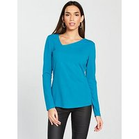 V by Very Asymmetric Top - Turquoise, Turquoise, Size 14, Women