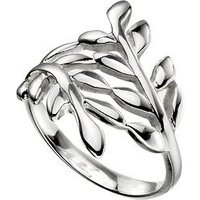 The Love Silver Collection Sterling Silver Wrap Over Leaf Ring, One Colour, Size R, Women