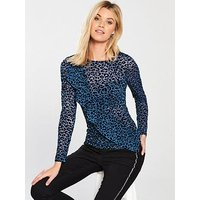 V by Very Mesh Frill Asymmetric Top - Animal Print, Animal Print, Size 24, Women