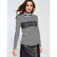 V by Very Roll Neck Lace Panel Top - Black/White , Stripe, Size 20, Women
