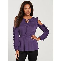 V by Very Cold Shoulder Frill Top - Grape, Grape, Size 22, Women
