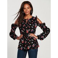 V by Very Cold Shoulder Frill Top - Ditsy Print, Ditsy Print, Size 22, Women