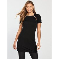 V by Very Pearl Trim Longline Top - Black, Black, Size 22, Women