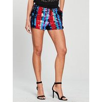 V by Very Draw String Sequin Shorts - Multi, Multi, Size 8, Women