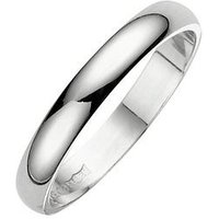 Love GOLD 18 Carat White Gold Court Wedding Band 4mm, Size L, Women