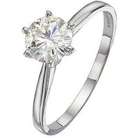 Moissanite 18 Carat White Gold 1 Carat Solitaire Ring, Size K, Women