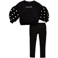 Mini V by Very Girls Spot Sweatshirt & Legging Outfit, Black, Size Age: 5-6 Years, Women