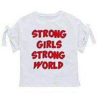 V by Very Girls Slogan Pearl T-shirt - White, White, Size Age: 15 Years, Women