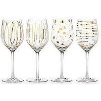 Product photograph showing Creative Tops Mikasa Cheers Metallic Gold Wine Glasses Ndash Set Of 4