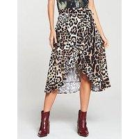 V by Very Printed Frill Wrap Skirt - Animal Print, Animal Print, Size 12, Women