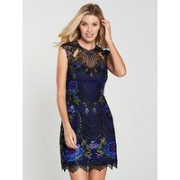 Karen Millen Metallic Coated Floral Embroidered Dress - Multi