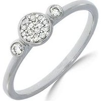 Love DIAMOND 9ct White Gold 10 Point Diamond Three Stone Cluster Ring, One Colour, Size L, Women