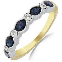 Love GEM 9ct Gold Sapphire & 4 Point Diamond Eternity Ring, One Colour, Size Q, Women