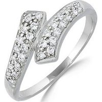 Love DIAMOND 9ct White Gold 20 Point Diamond Twist Ring, One Colour, Size M, Women