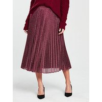 Whistles Sparkle Pleated Skirt - Pink