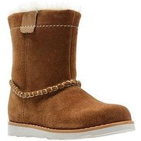 Clarks Crown Piper First Boot, Tan Suede, Size 5 Younger