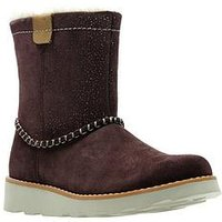 Clarks Crown Piper Infant Boot, Burgundy Suede, Size 12.5 Younger