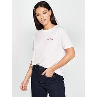 WHISTLES Paris Cheri Strip Logo T-Shirt, White, Size S, Women