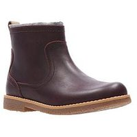 Clarks Comet Frost Infant Boot, Burgundy Leather, Size 12.5 Younger