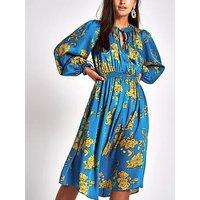 RI Petite Shirred Waist Floral Midi Dress - Blue Print, Blue, Size 12, Women