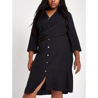 RI Plus Wrap Front Shirt Dress- Black, Black, Size 22, Women